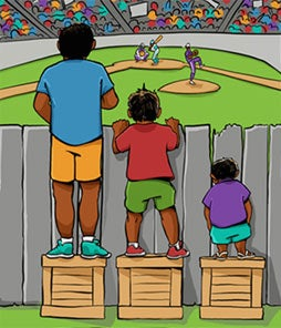 Tall individual, middle height individual, short individual all attempting to look over a fence to see a baseball game. Only the tall individual can see over.