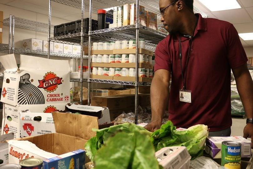 employee working in the food pantry