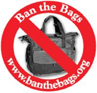 """Ban the Bags"" logo.  www.banthebags.org.  There is a photo of a hospital gift bag given at discharge with a red line through it.  It looks like a diaper bag.  They want to ban them because hospitals put free samples of formula in them, which promotes brand-name formulas and can insinuate that the hospital promotes formula as the primary infant feeding method."
