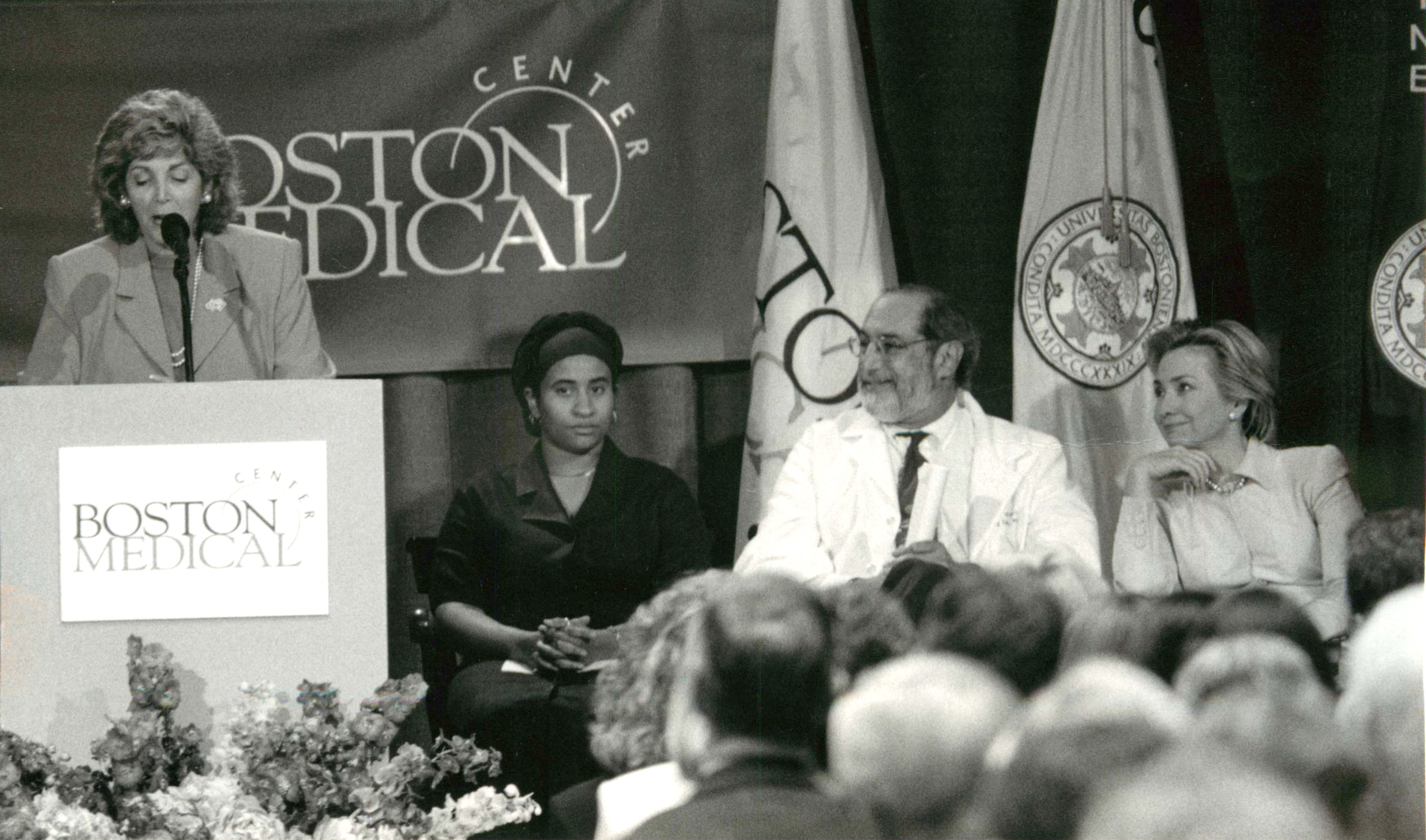 Barry Zuckerman, MD and Hillary Clinton at Reach Out and Read's 10th anniversary celebration at Boston Medical Center