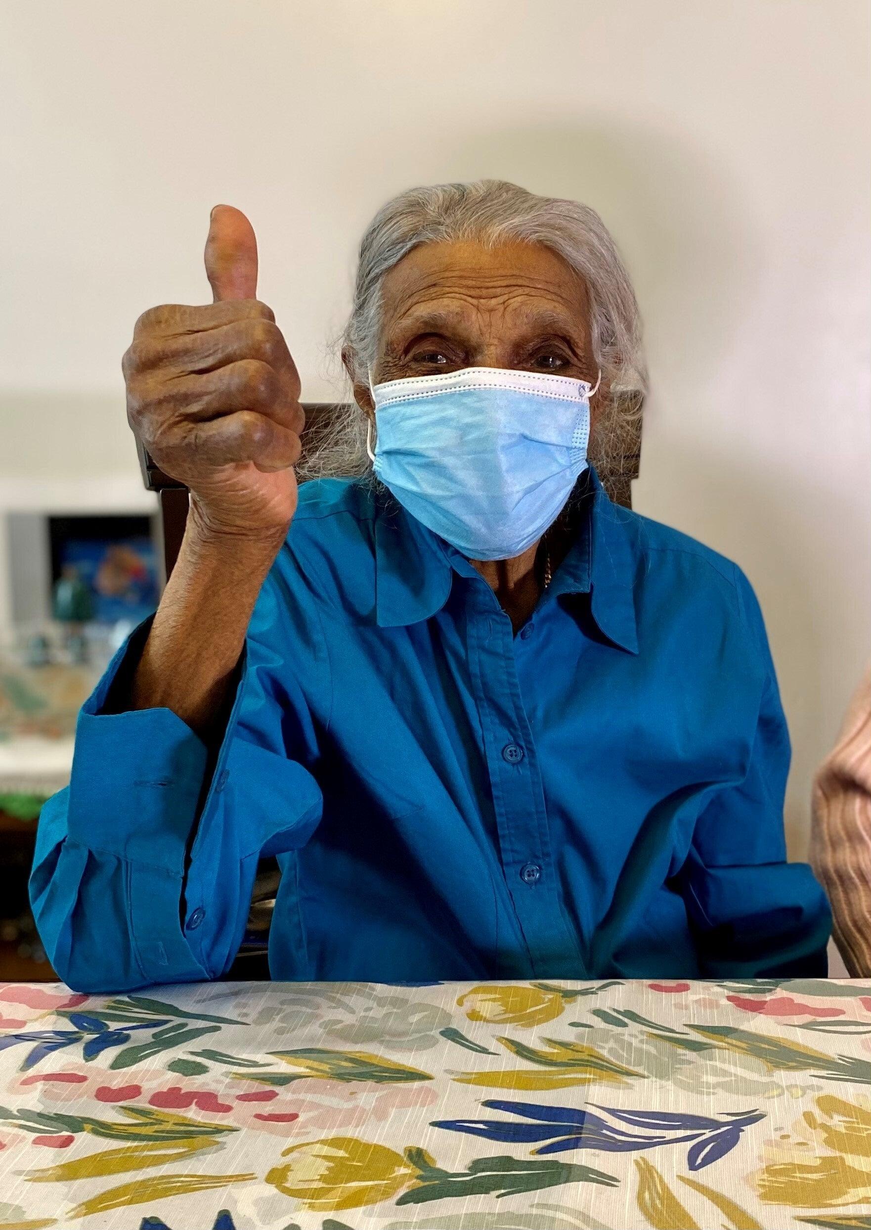 geriatrics home care patient getting the covid-19 vaccine
