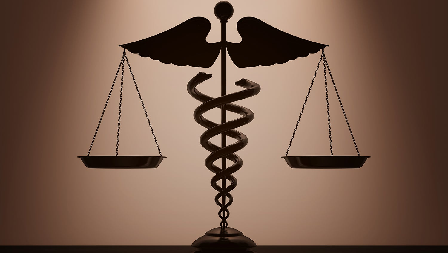 Medical caduceus symbol as justice scales on a brown backdrop