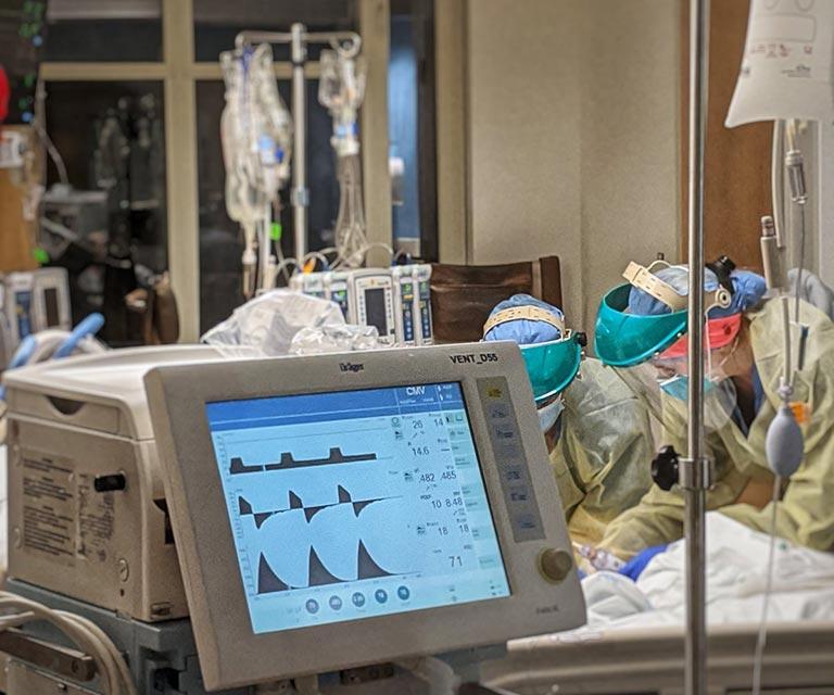 BMC ICU hospital room during COVID