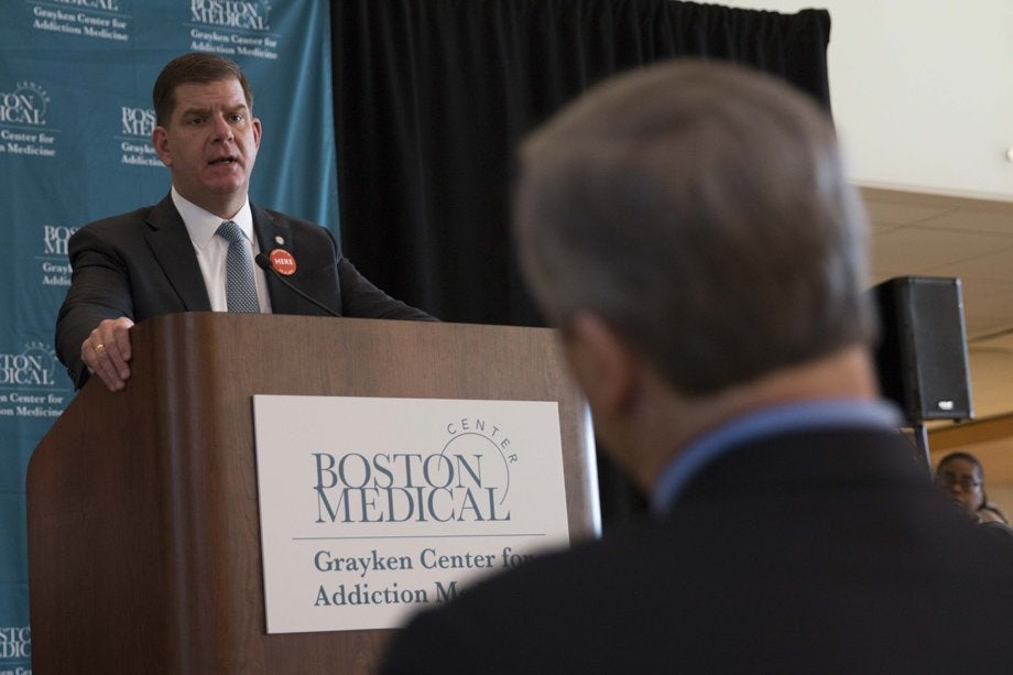 Boston Mayor Martin J. Walsh speaking at the Grayken Gift ceremony