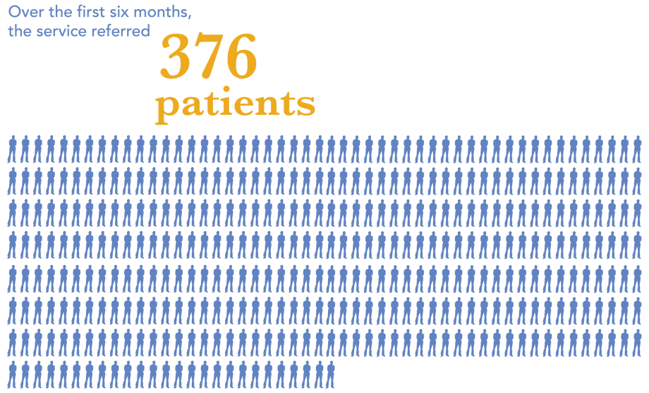 Over the first 6 months the service referred 376 patients.
