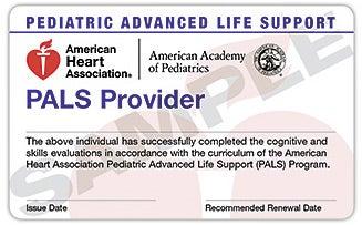 pediatric advanced life support provider card
