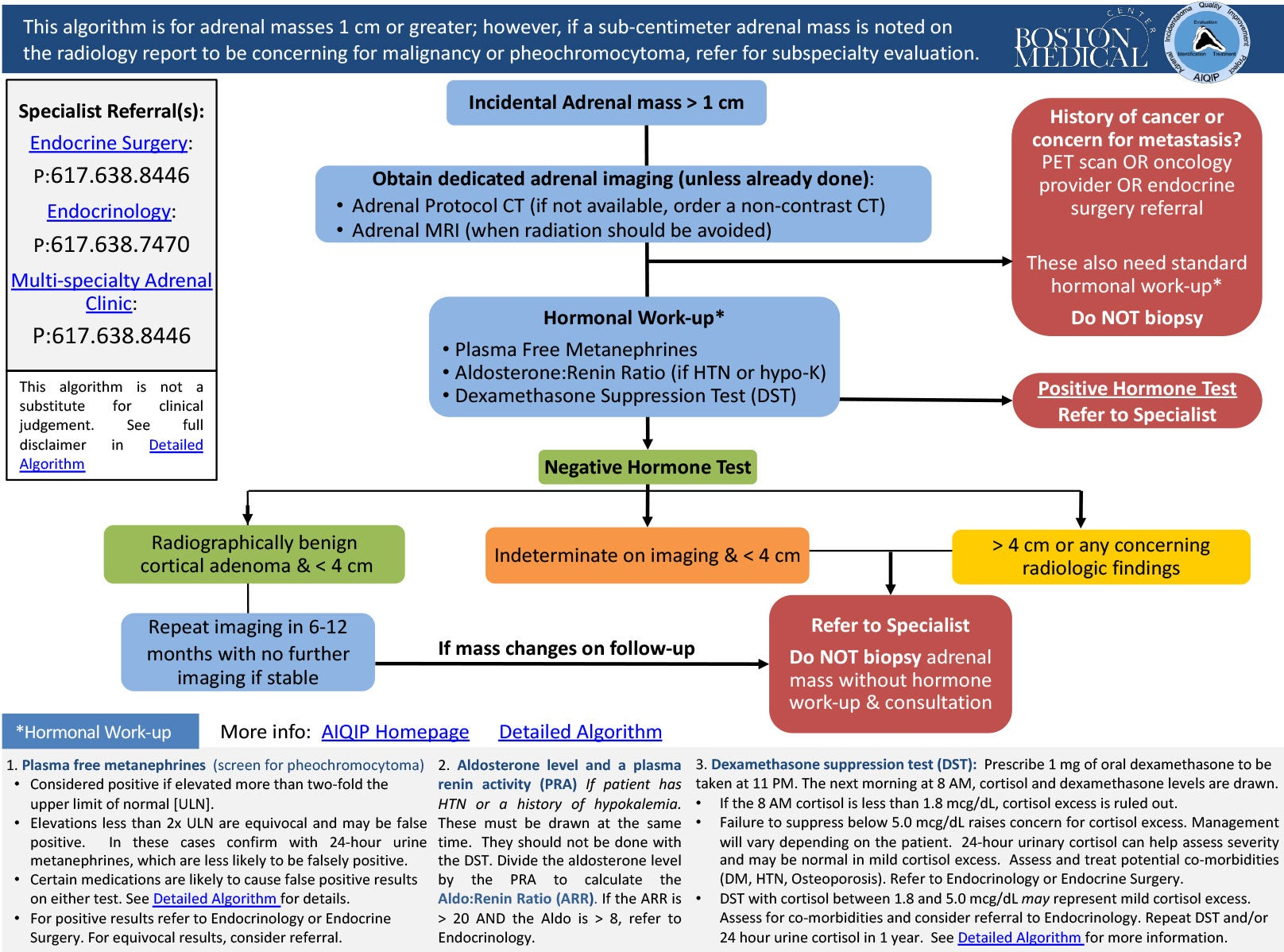 Adrenal Incidentaloma Quality Improvement Project algorithm image