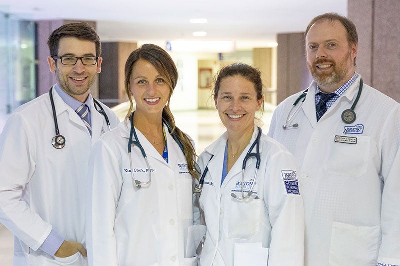 Hospitalist Medical Team at BMC: Timothy Wymer, MD; Kim Cook, NP; Maura Hossack, NP; and Patrick Fleming, MD