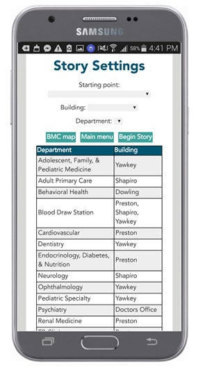 App settings screen for the social story about how to get to a doctor's office