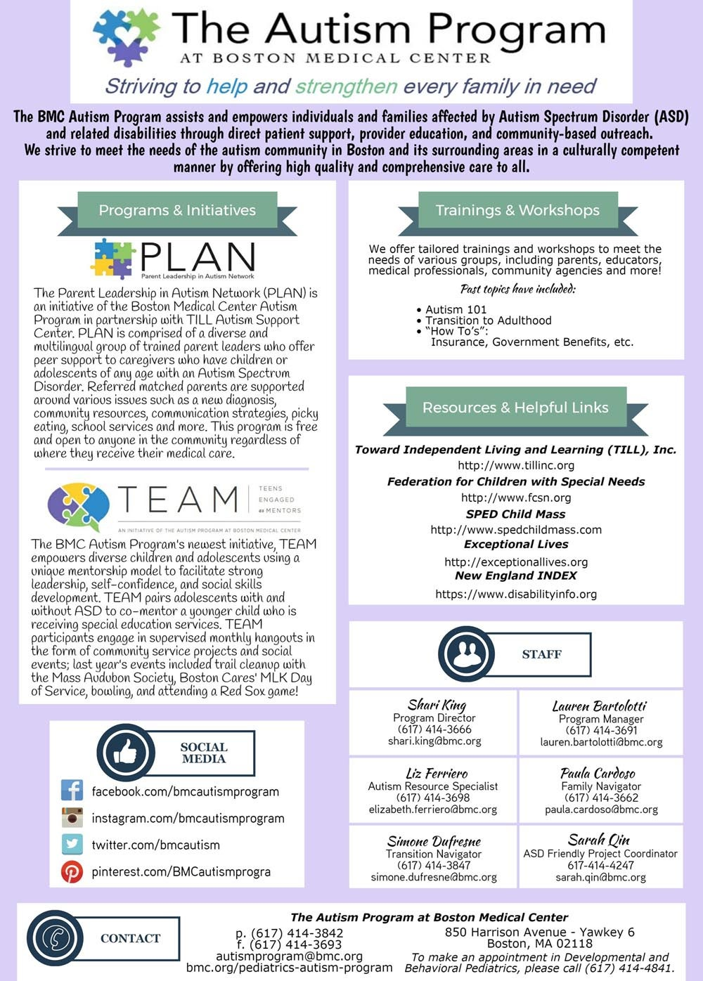 The Autism Plan at Boston Medical Center: Page 1