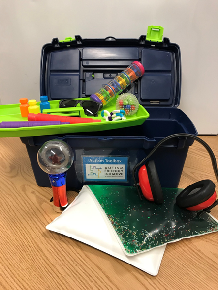 Depicted here is the Sensory Toolbox- one of our interventions that accommodates various sensory and communication needs for patients with ASD during their hospital visits.