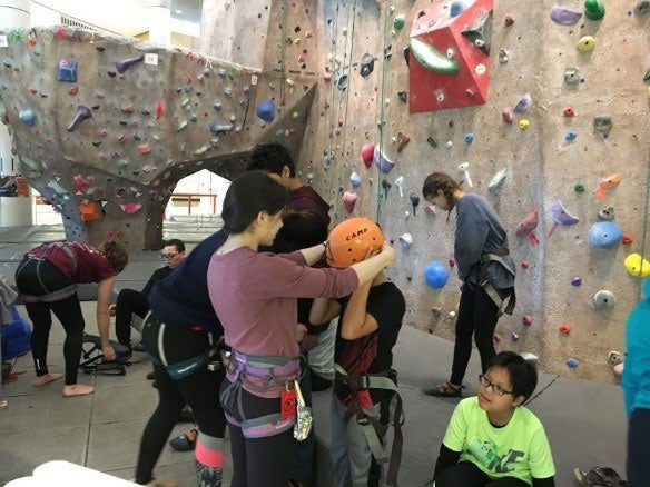 Getting ready to rock climb!