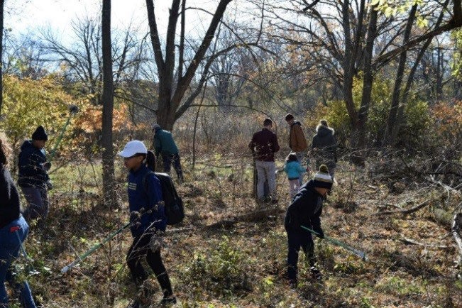 Cleaning up a nature trail with the Mass Audobon Society.