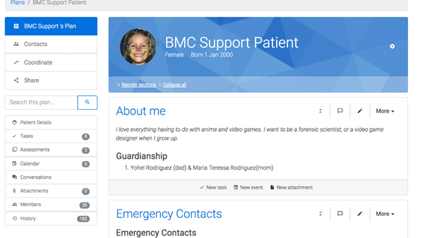 ACT BMC patient support account