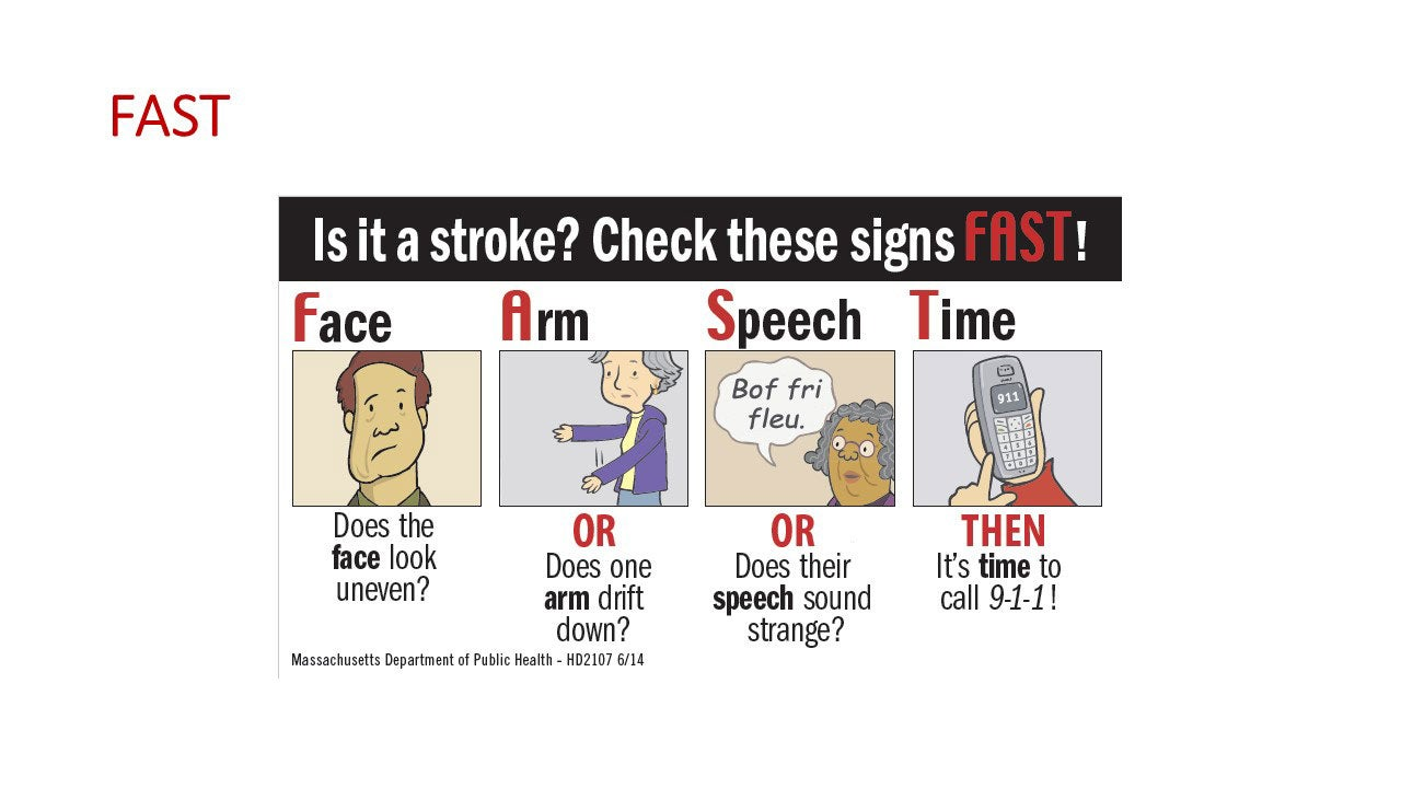 FAST - Is it a stroke? Check these signs FAST! Face - does the face look uneven? Arm  - or does one arm drift down? Speech -  or does their speech sound strange? Time - then its time to call 911.