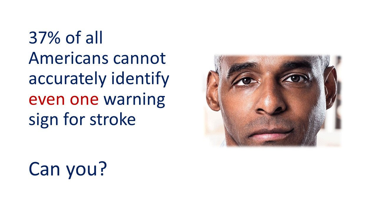 37% of all Americans cannot accurately identify even one warning sign for stroke. Can you?
