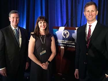 Stephanie Talutis, MD, MPH, presented at the 2018 AAES annual meeting. With her are (L) David McAneny, MD, and (R) Thurston Drake, MD, MPH.