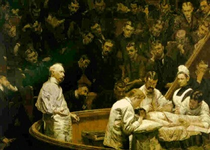 """The Agnew Clinic"" by Thomas Eakins, 1889.D. Hayes Agnew was a respected surgeon who taught at the medical school of the University of Pennsylvania."