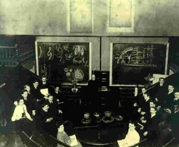 An anatomy lecture at Boston University School of Medicine in the late 1800s.