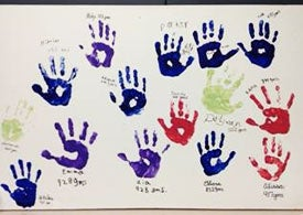 ELGAN Study Patient handprints - to be framed and hung in the new NICU.
