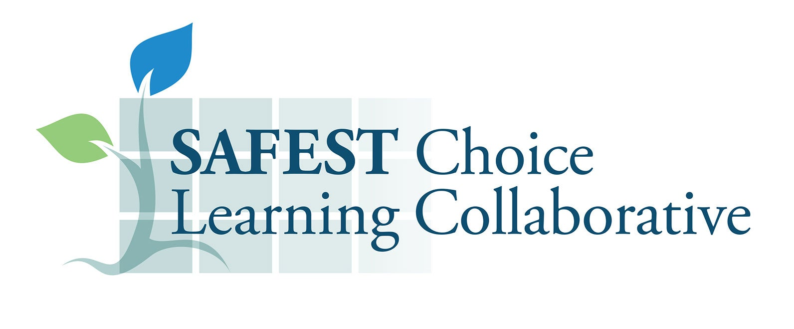 Safest Choice Learning Collaborative logo with Safest Choice Learning Collaborative in dark blue beside a branch with one blue and one green leaf, over fading blue rectangles