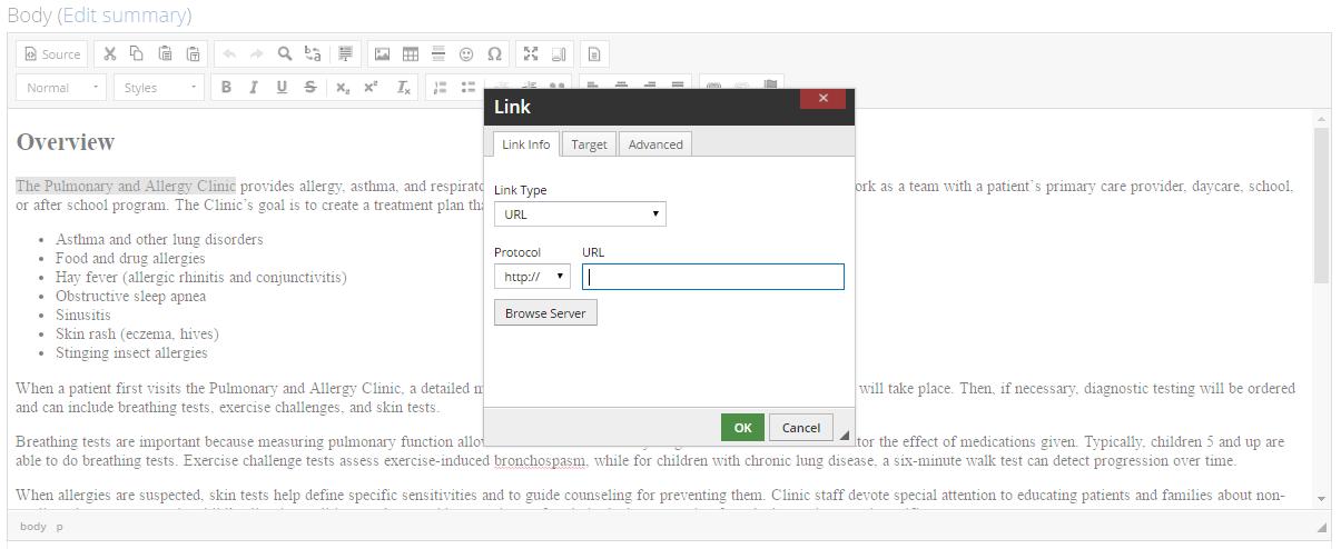 Link Dialog Box